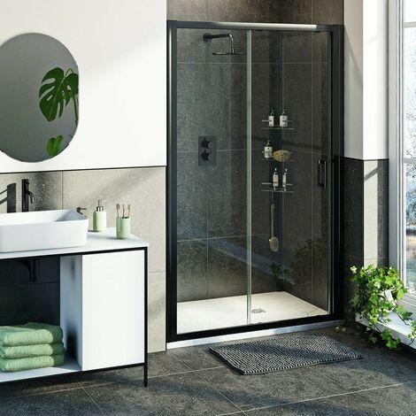 Mode 6mm black framed shower door bundle with white slate effect shower tray 1200 x 800