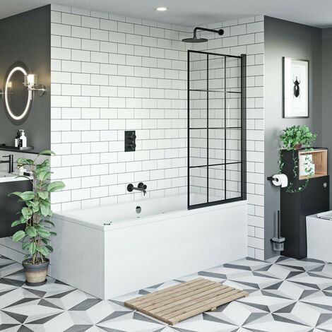 Mode 8mm black framed bath screen