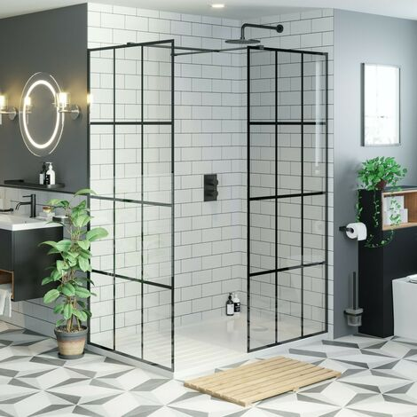 Mode 8mm black framed enclosure pack with walk in shower tray 1600 x 800