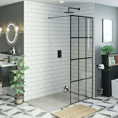 Mode 8mm black framed wet room glass panel 900mm