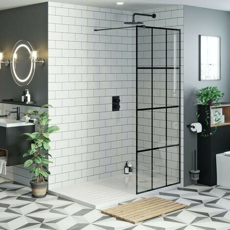 Mode 8mm black framed wet room glass panel with walk in shower tray 1400 x 900 and twin valve matt black shower set