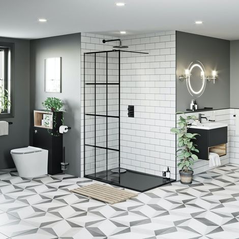 Mode 8mm black framed wet room pack with right handed 8mm black granite effect shower tray 1200 x 800