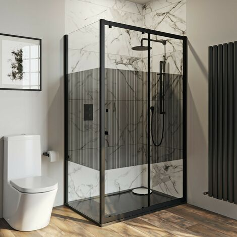 Mode 8mm matt black framed shower enclosure with modesty panel 1200 x 800mm