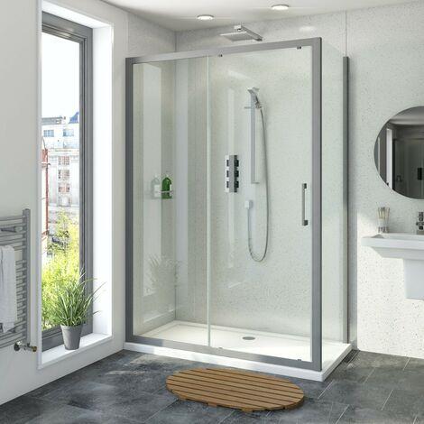 Mode 8mm matt grey framed sliding shower enclosure 1200 x 800
