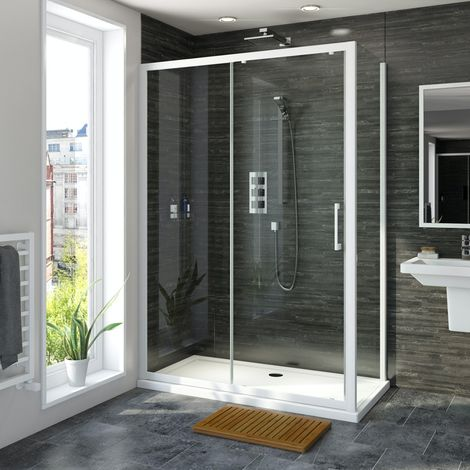 Mode 8mm matt white framed sliding shower enclosure 1200 x 800