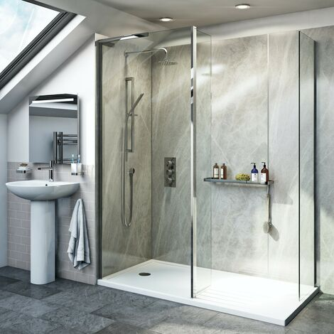 Mode 8mm spacious walk in left handed shower enclosure pack with return panel and walk in tray 1600 x 800