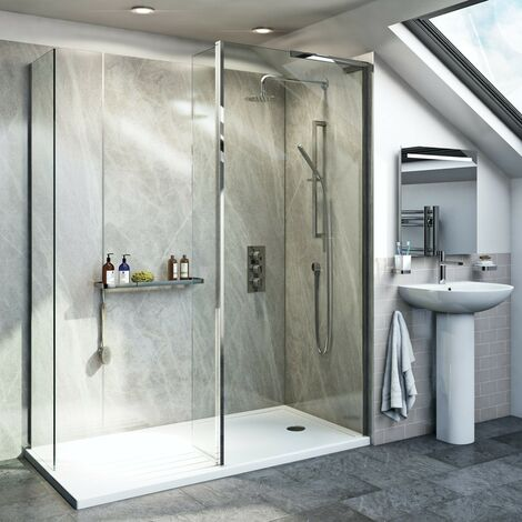 Mode 8mm spacious walk in right handed shower enclosure pack with return panel and walk in tray 1600 x 800