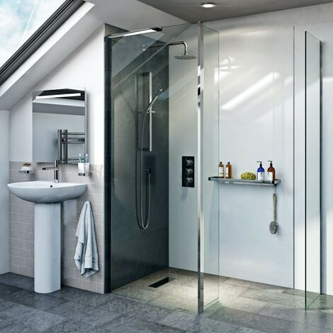 Mode 8mm spacious walk in shower enclosure pack with hinged return panel 1200 x 800