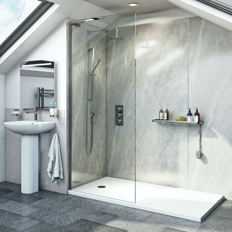 Mode 8mm walk in left handed glass panel pack with walk in shower tray 1400 x 900