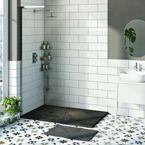 Mode 8mm walk in left handed shower enclosure bundle with black slate effect shower tray 1400 x 900