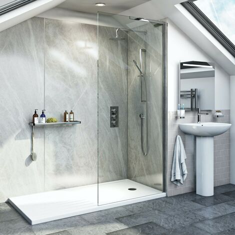 Mode 8mm walk in right handed glass panel pack with walk in shower tray 1600 x 800