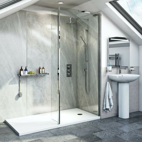Mode 8mm walk in right handed shower enclosure pack with hinged return panel and walk in shower tray 1600 x 800