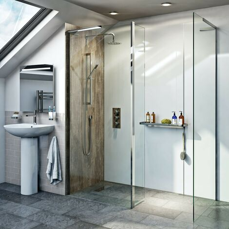 Mode 8mm walk in shower enclosure pack with hinged return panel 1200 x 800