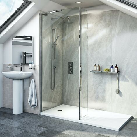 Mode 8mm walk in shower enclosure pack with hinged return panel and walk in shower tray 1400 x 900
