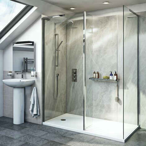 Mode 8mm walk in shower enclosure pack with return panel and walk in tray 1600 x 800