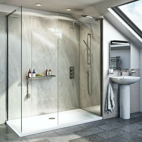 Mode 8mm walk in shower enclosure pack with stone shower tray 1700 x 800