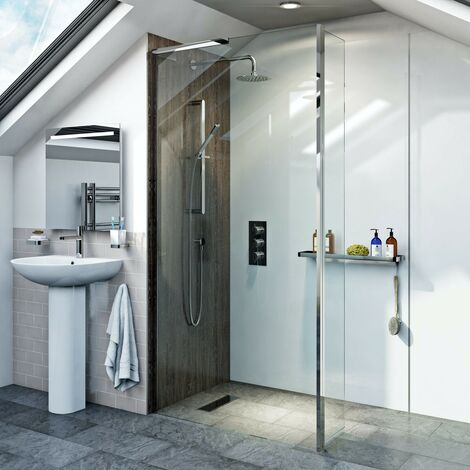 Mode 8mm wet room glass panel with hinged return panel 900mm