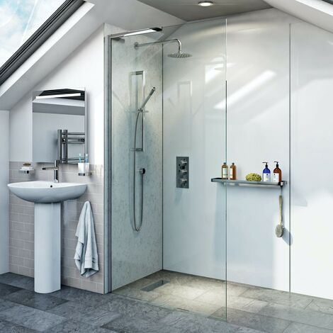 Mode 8mm wet room left handed glass panel 900mm