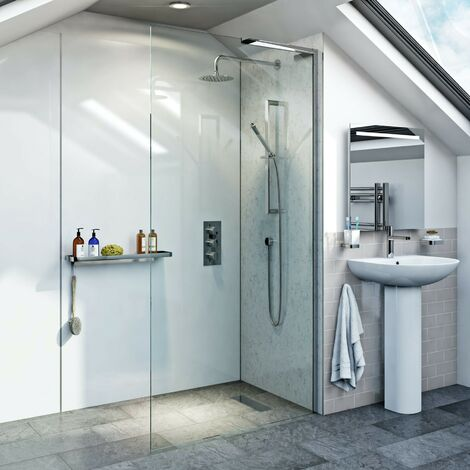 Mode 8mm wet room right handed glass panel 700mm