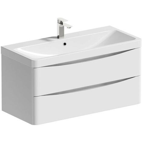 Mode Ashida white wall hung vanity unit and basin 1000mm