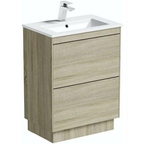 "main image of ""Mode Austin oak floorstanding vanity unit and basin 600mm"""