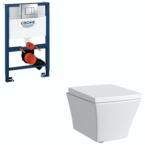 Mode Austin wall hung toilet, Grohe frame and Skate Cosmopolitan push plate 0.82m