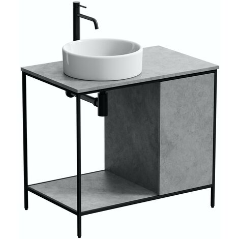 Mode Bergne dark concrete grey washstand and black steel frame 812mm with Calhoun countertop basin, tap, waste and trap