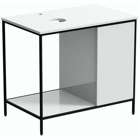 Mode Bergne white washstand and black steel frame 812mm