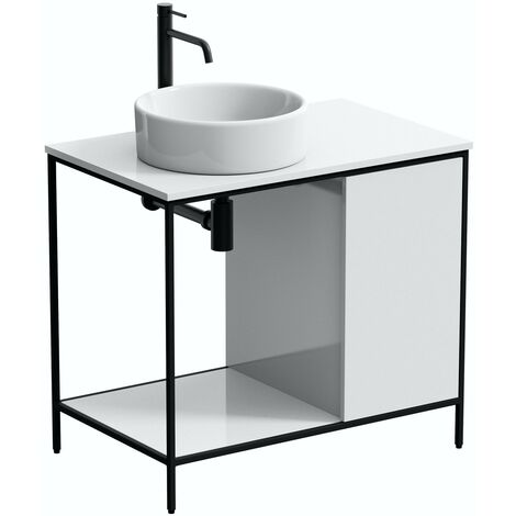 Mode Bergne white washstand and black steel frame 812mm with Calhoun countertop basin, tap, waste and trap