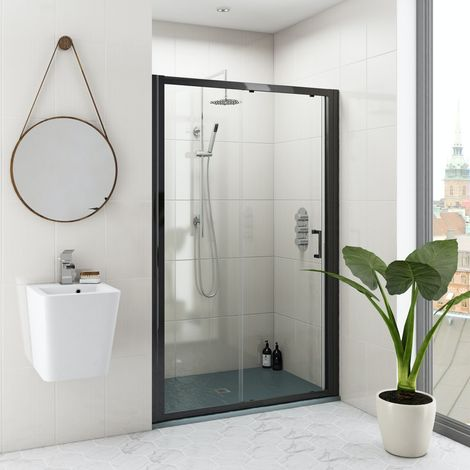 Mode black 6mm sliding shower door with grey slate effect tray 1200 x 800