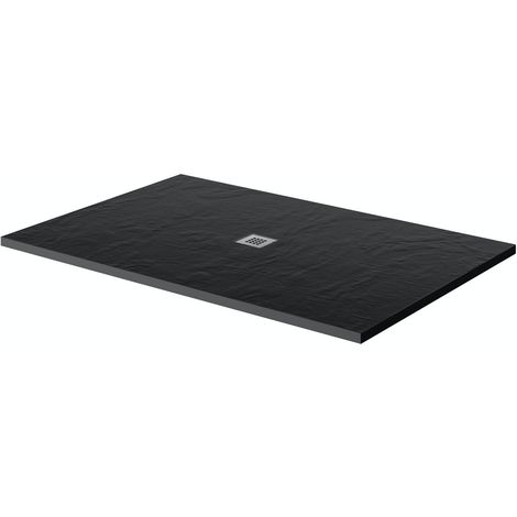 Mode black slate effect rectangle stone shower tray 1000 x 800