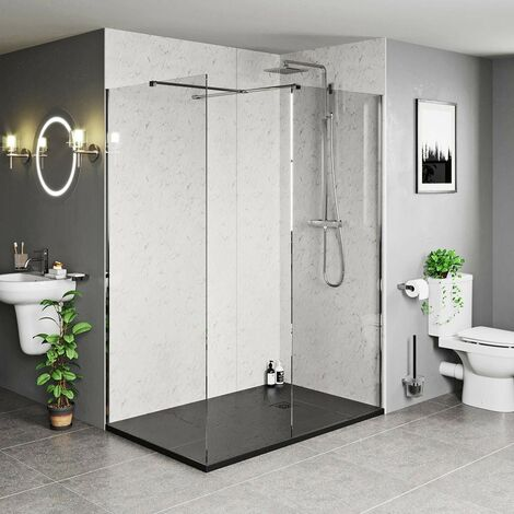"""main image of """"Mode Burton 8mm walk in shower enclosure pack with black stone tray 1200 x 800"""""""