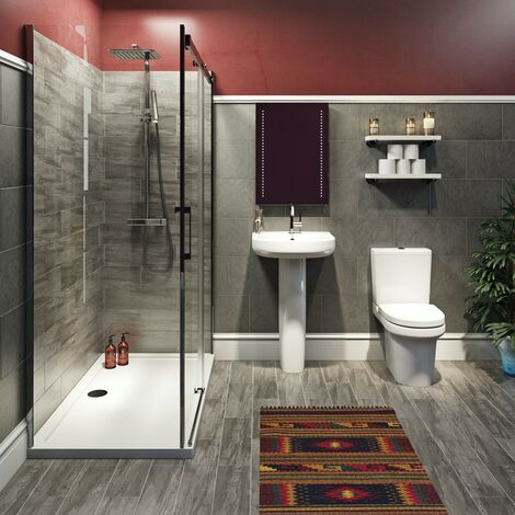 Mode Burton complete bathroom suite with enclosure, tray, shower and taps 1600 x 800