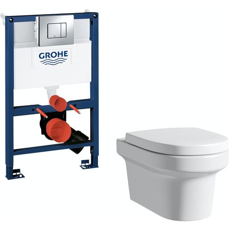Mode Burton wall hung toilet, Grohe frame and Skate Cosmopolitan push plate 0.82m