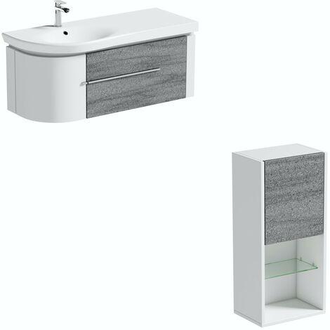 Mode Burton white & grey ice stone wall hung vanity unit 1200mm with storage unit set
