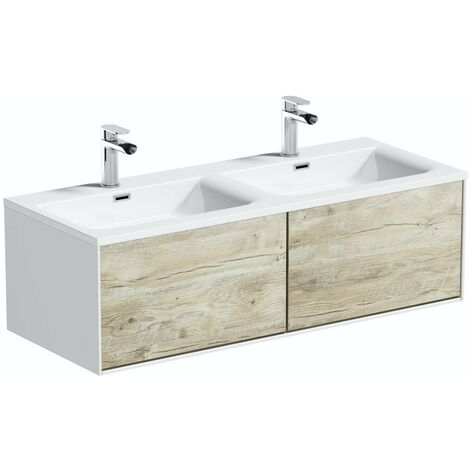 Mode Burton white & rustic oak wall hung double vanity unit and basin 1200mm