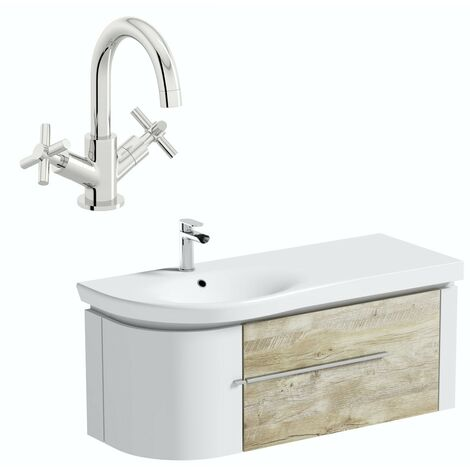 Mode Burton white & rustic oak wall hung vanity unit and basin 1200mm with tap