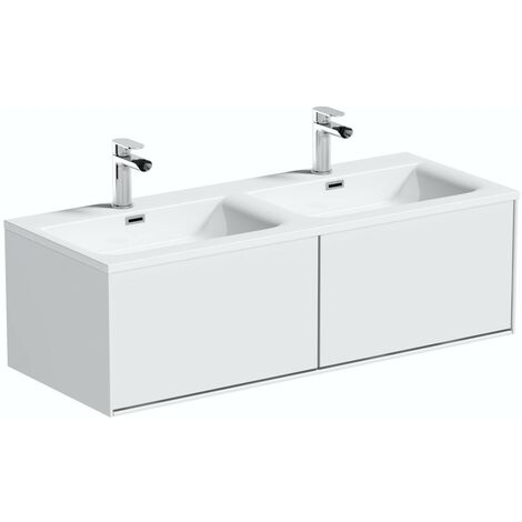 Mode Burton white wall hung double vanity unit and basin 1200mm