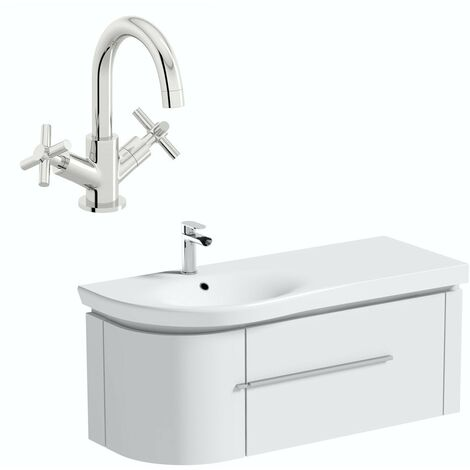 Mode Burton white wall hung vanity unit and basin 1200mm with tap
