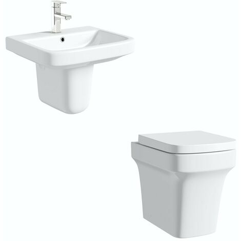 Mode Carter cloakroom suite with semi pedestal basin 555mm
