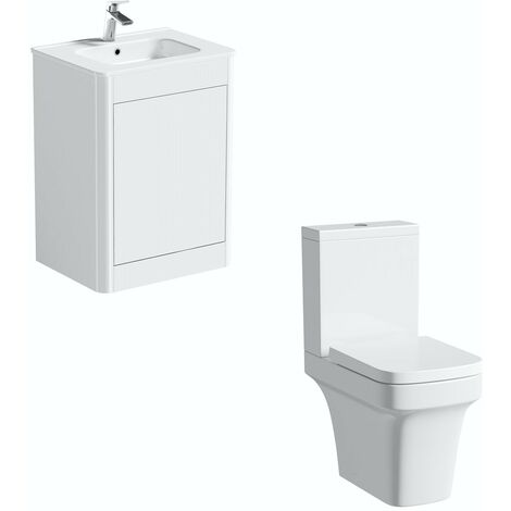 Mode Carter close coupled toilet and white vanity unit suite 600mm