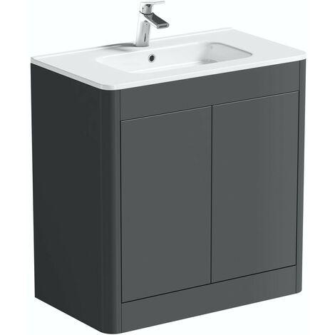 Mode Carter slate gloss grey floorstanding vanity unit and ceramic basin 800mm