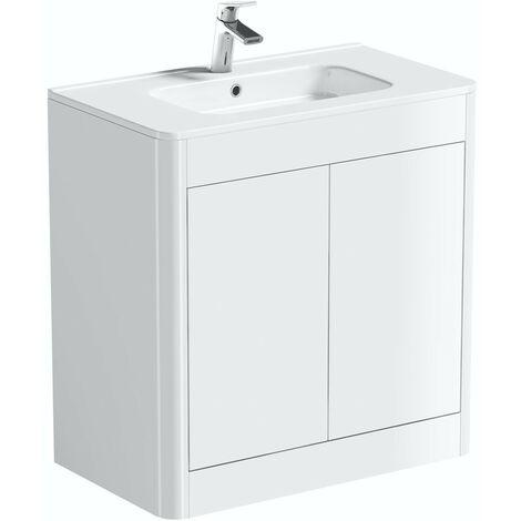 Mode Carter white floorstanding vanity unit and ceramic basin 800mm