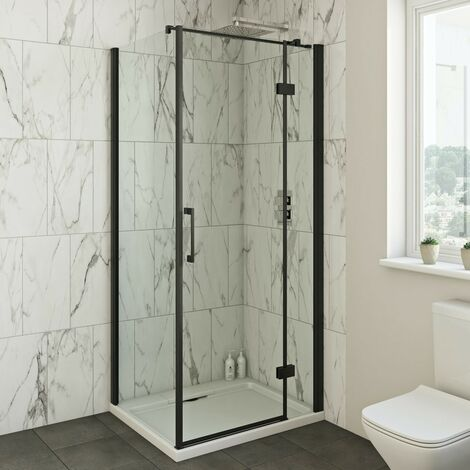 Mode Cooper 8mm black hinged shower enclosure 1200 x 800