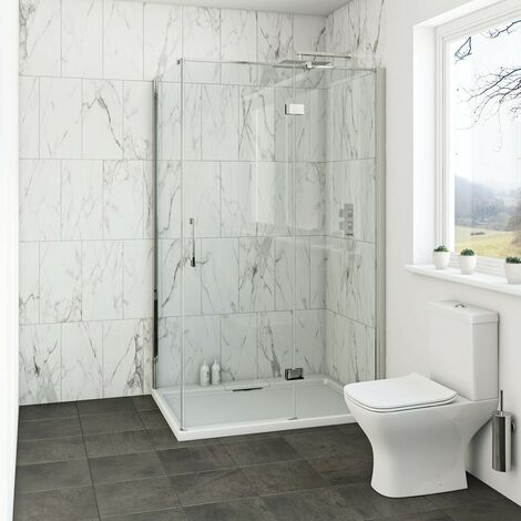 Mode Cooper 8mm hinged shower enclosure with stone tray 900 x 800