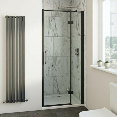 Mode Cooper black hinged easy clean shower door 1200mm