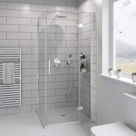Mode Cooper premium 8mm easy clean square shower enclosure with white slate effect tray 900 x 900