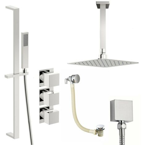 Mode Cooper thermostatic shower valve with complete ceiling shower bath set 300mm