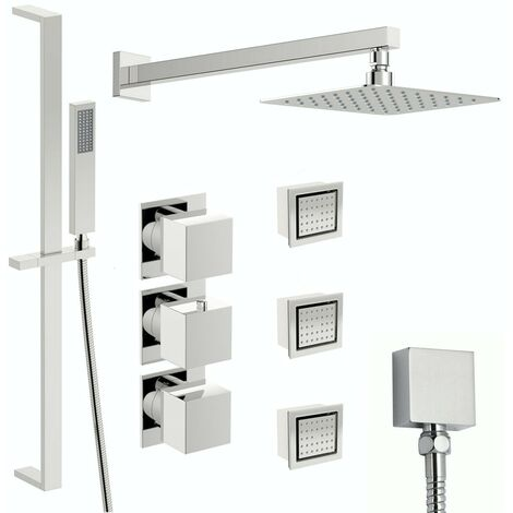 Mode Cooper thermostatic shower valve with complete wall shower set 400mm