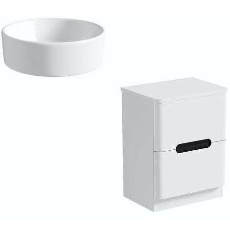 Mode Ellis essen floorstanding vanity drawer unit and countertop 600mm with Calhoun basin